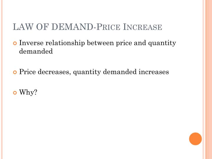 LAW OF DEMAND-Price Increase