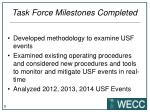task force milestones completed