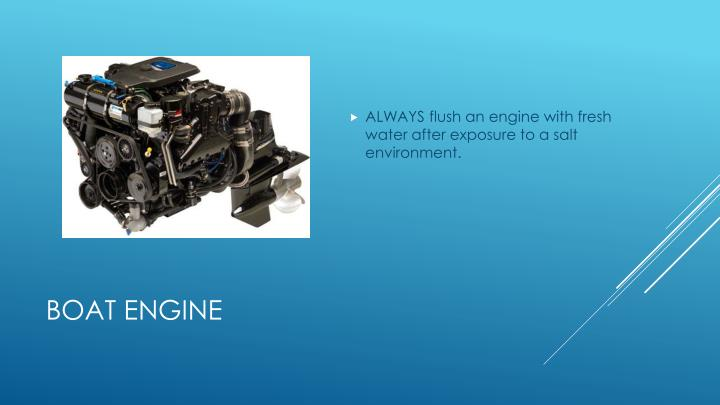 ALWAYS flush an engine with fresh water after exposure to a salt environment.