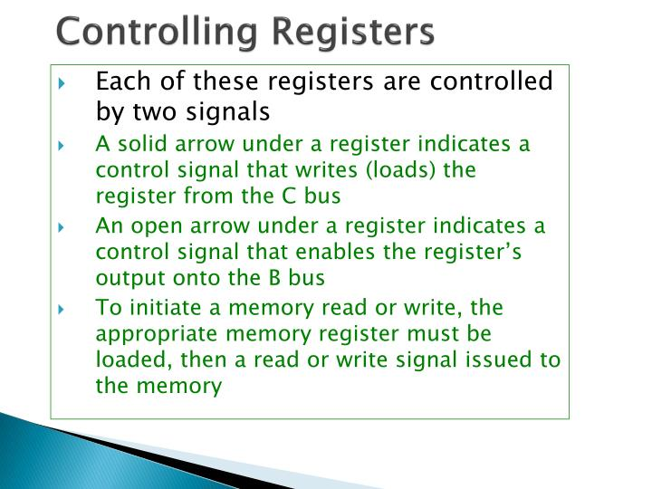 Controlling Registers