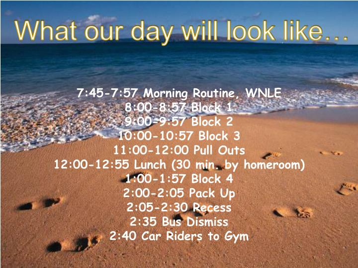 What our day will look like…