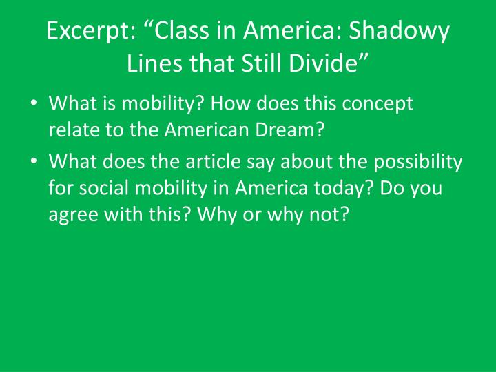 """Excerpt: """"Class in America: Shadowy Lines that Still Divide"""""""