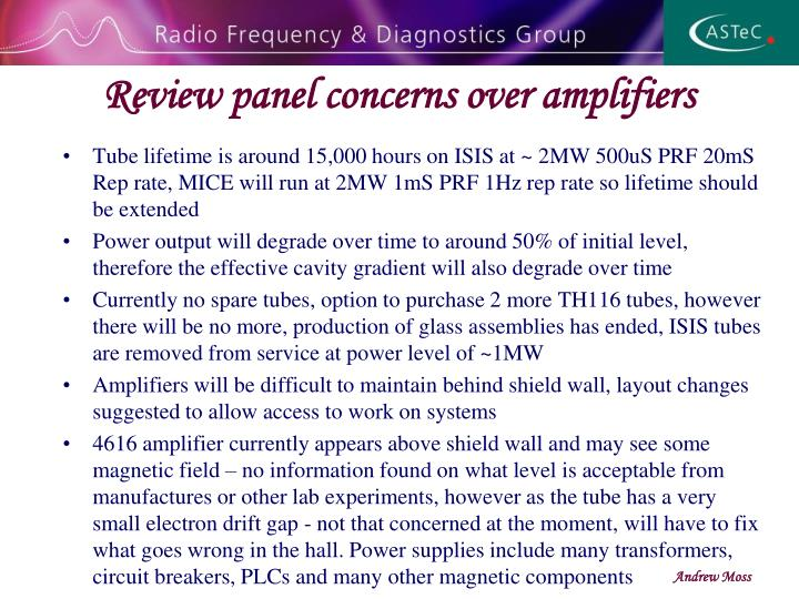 Review panel concerns over amplifiers