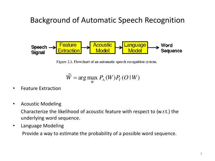 Background of Automatic Speech Recognition