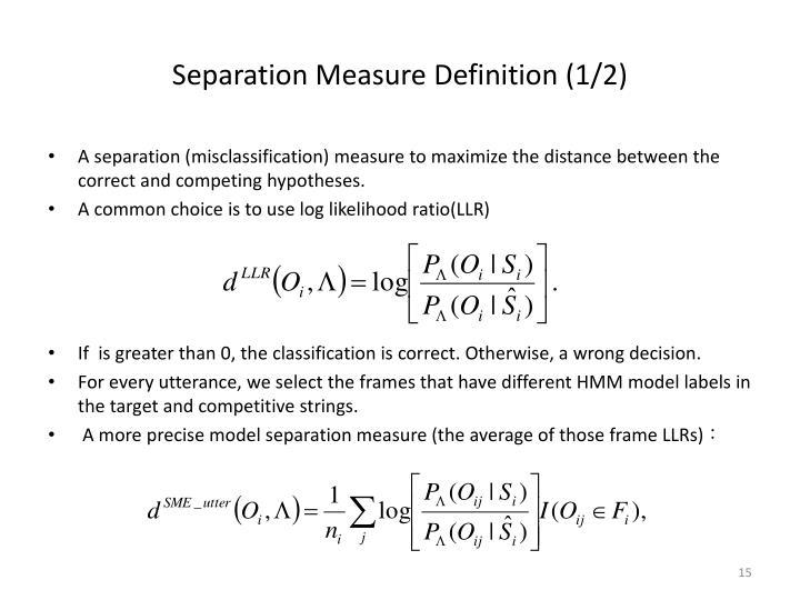 Separation Measure Definition (1/2)