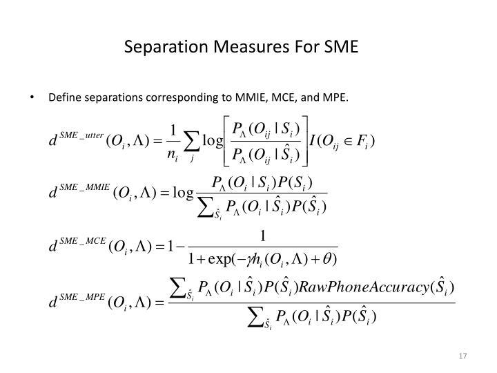 Separation Measures For SME