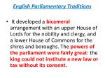 english parliamentary traditions