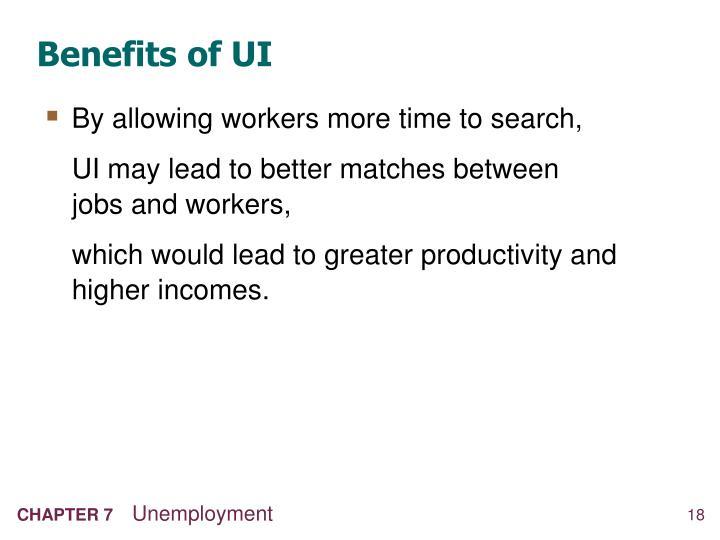 Benefits of UI