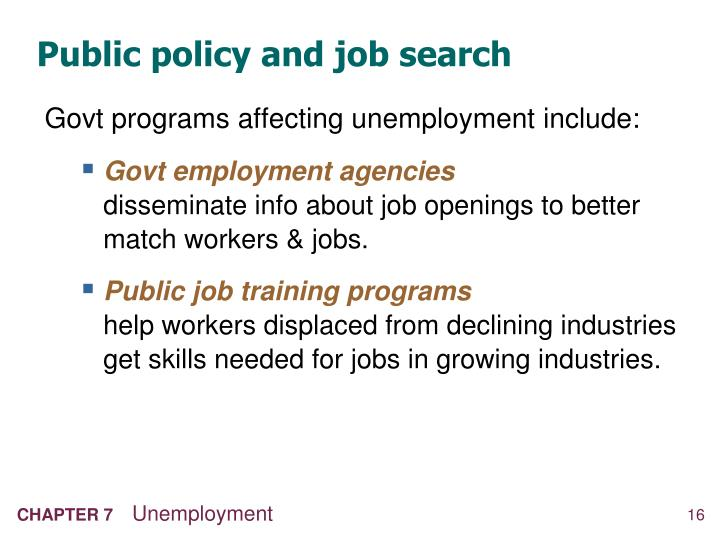 Public policy and job search