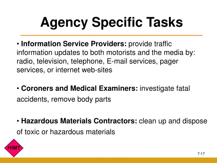 Agency Specific Tasks