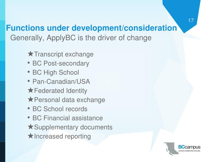 Functions under development/consideration
