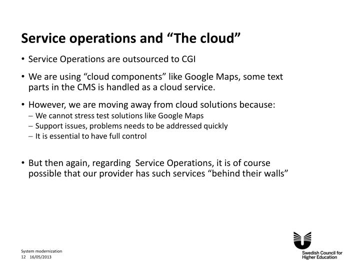 """Service operations and """"The cloud"""""""