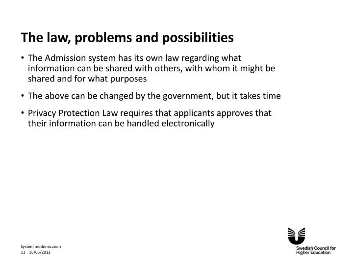 The law, problems and possibilities