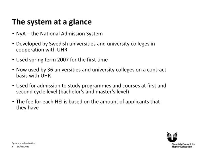The system at a glance