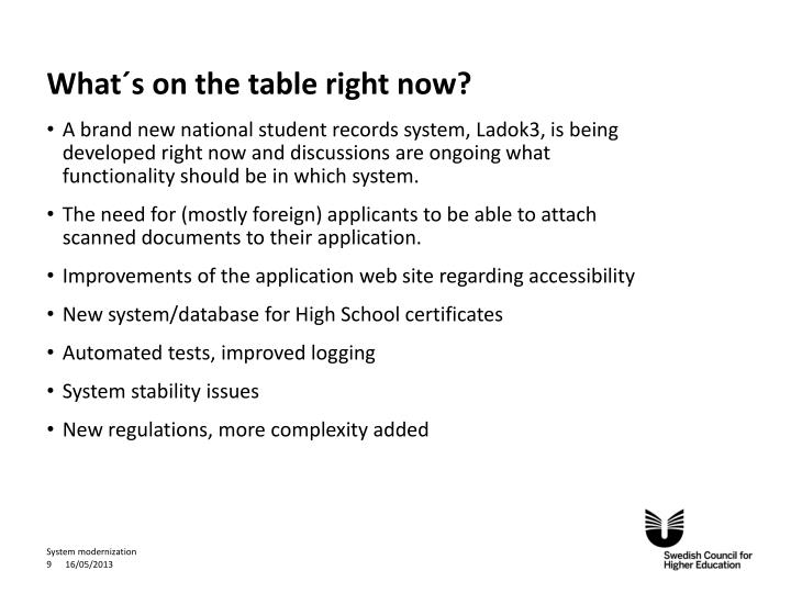 What´s on the table right now?