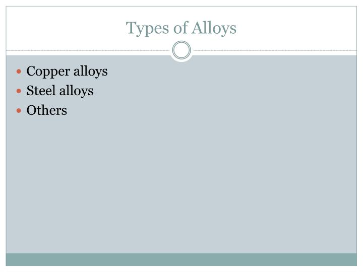 Types of Alloys