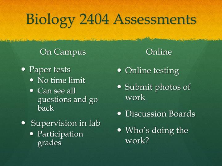 Biology 2404 Assessments