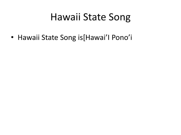 Hawaii State Song