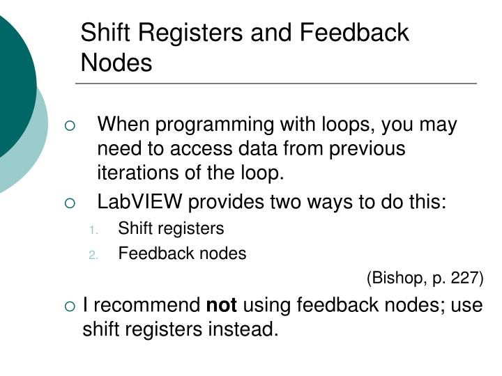 Shift registers and feedback nodes