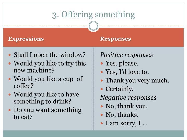 3. Offering something