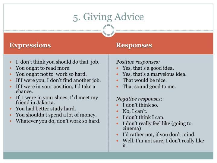 5. Giving Advice