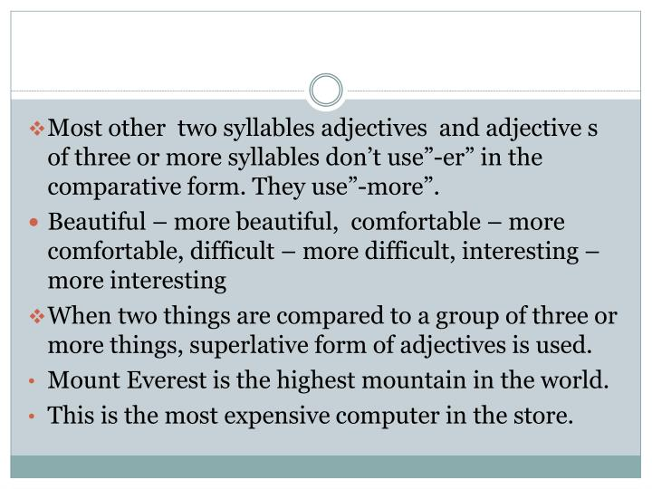 """Most other  two syllables adjectives  and adjective s of three or more syllables don't use""""-"""