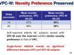 vpc w novelty preference preserved
