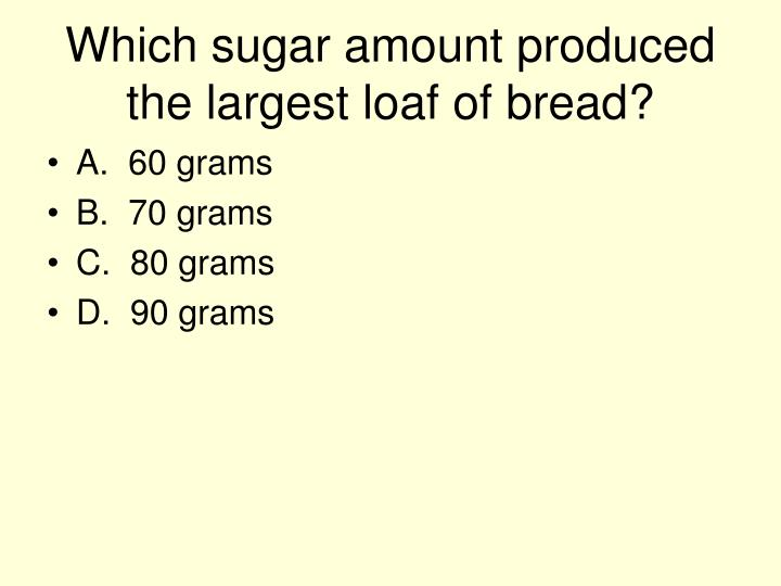 Which sugar amount produced the largest loaf of bread?