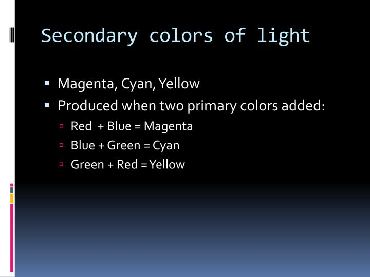 Secondary colors of light