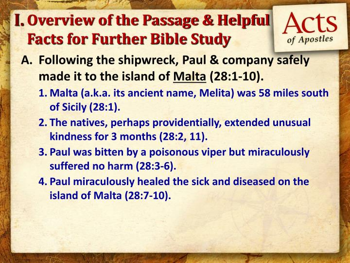 Overview of the passage helpful facts for further bible study