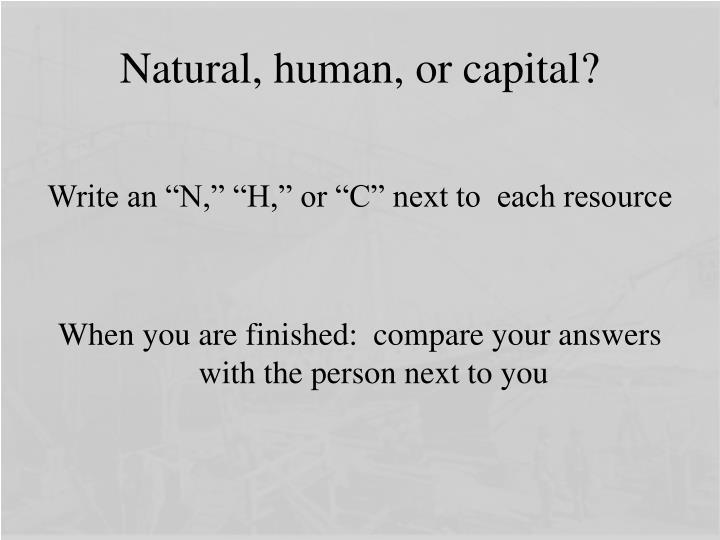 Natural, human, or capital?