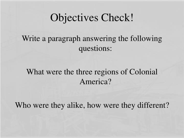 Objectives Check!
