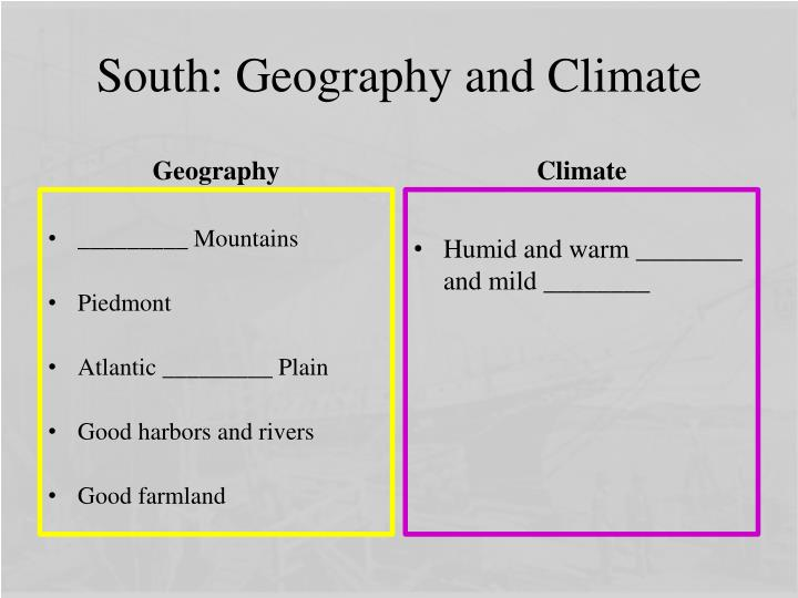 South: Geography and Climate