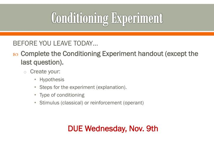 Conditioning Experiment