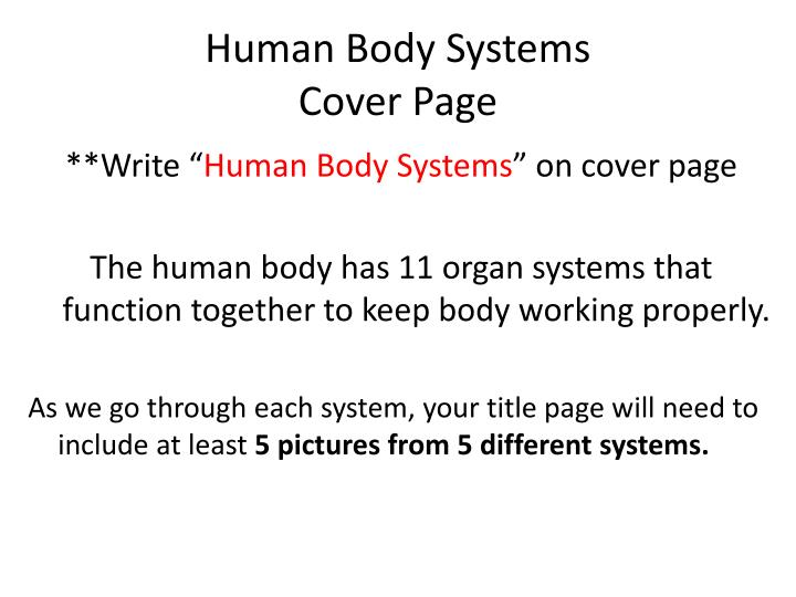 Human body systems cover page