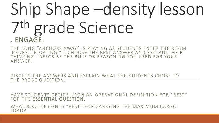 ship shape density lesson 7 th grade science