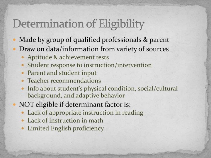 Determination of Eligibility