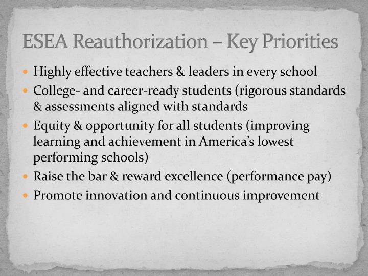 ESEA Reauthorization – Key Priorities