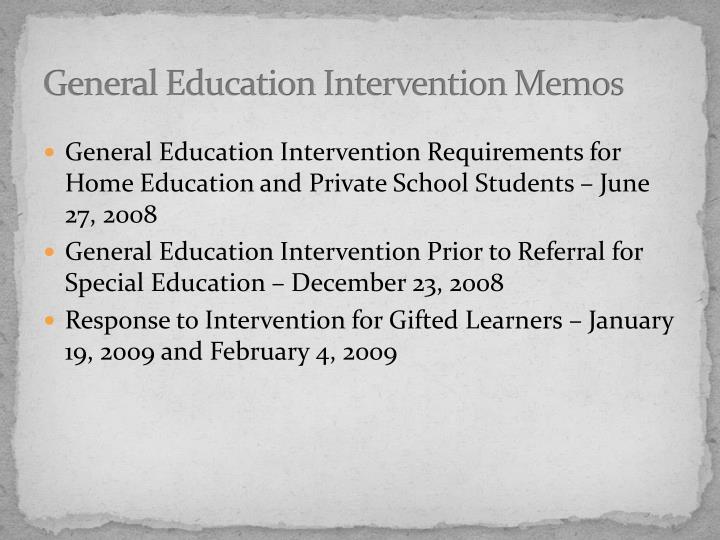 General Education Intervention Memos