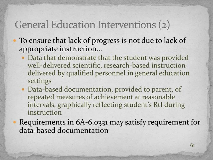General Education Interventions (2)