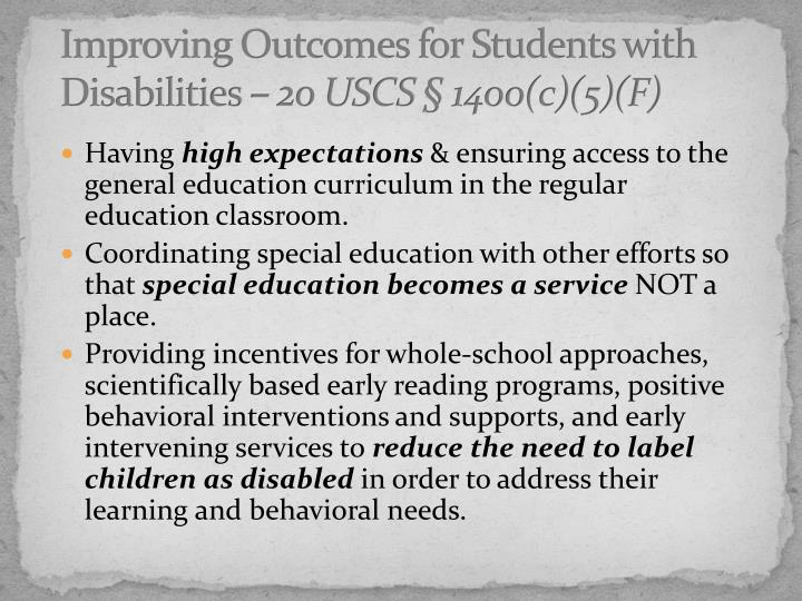 Improving Outcomes for Students with