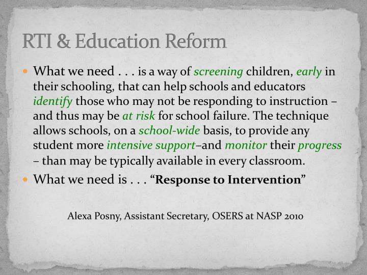 RTI & Education Reform