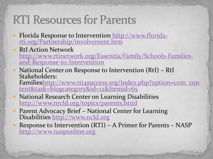 RTI Resources for Parents