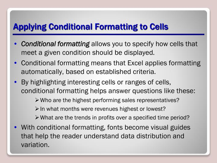 Applying Conditional Formatting to Cells