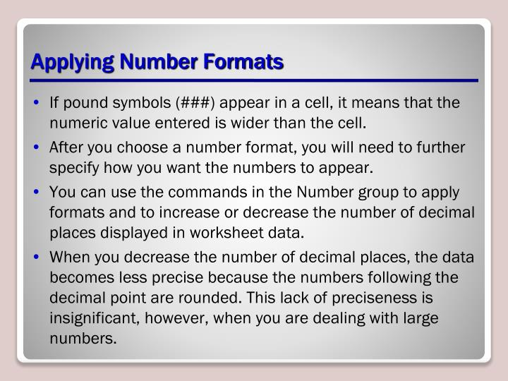 Applying Number Formats