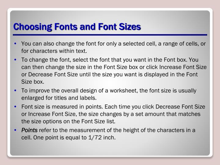 Choosing Fonts and Font Sizes