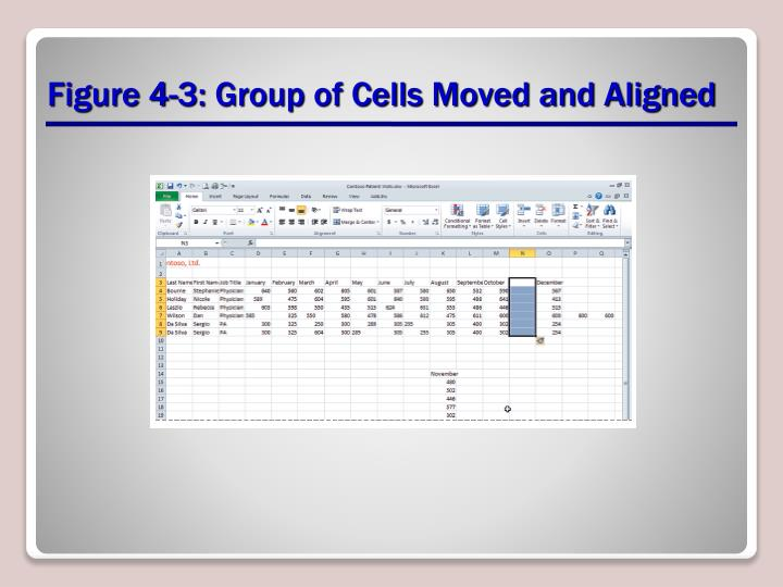 Figure 4-3: Group of Cells Moved and Aligned