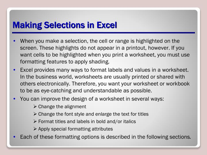 Making Selections in Excel