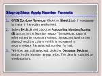 step by step apply number formats