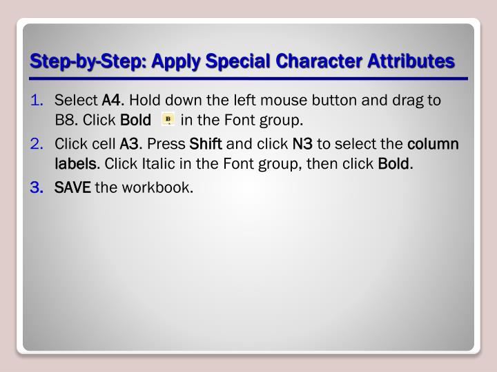 Step-by-Step: Apply Special Character Attributes